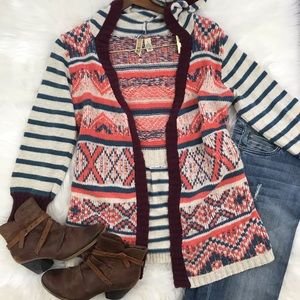 BKE Chunky Hooded Open Cardigan